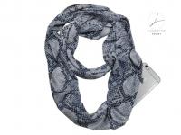 Sjaal met zakken | opbergvakje met rits | slangenprint dierenprint| 4 seizoenen draagbaar, ook winter | 160 x 30cm | ronde sjaal