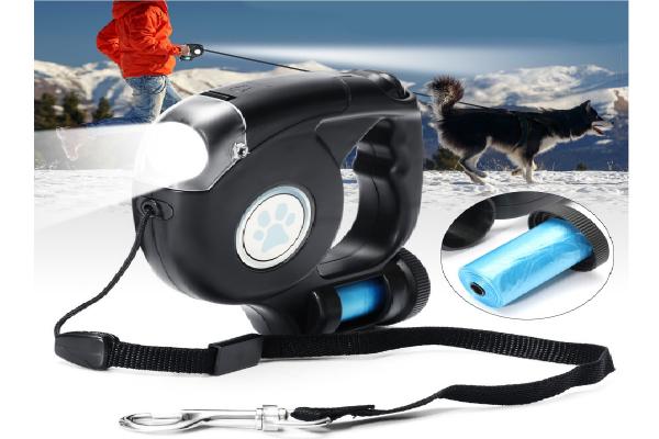 Hondenlijn hondenriem 4.5m met LED zaklamp, licht, verlichting, led lamp, honden uitlaatlijn + opbergcompartiment voor vuilniszakjes / poepzakjes inclusief batterijen