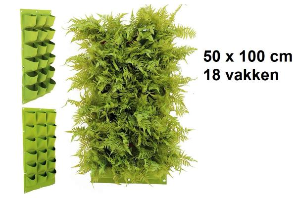 Verticale tuin met 18 grote vakken - 100cm x 50cm- hangende tuin - groen - groene wand - groene muur - verticale moestuin zakken - plantenhanger balkon - plantenbak - plantenzak 1x0.5 meter