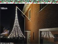 Vlaggenmast kerstverlichting gevel, hangende kerstboom -180 cm - 192 warmwitte LED lampjes, vlaggenmast verlichting