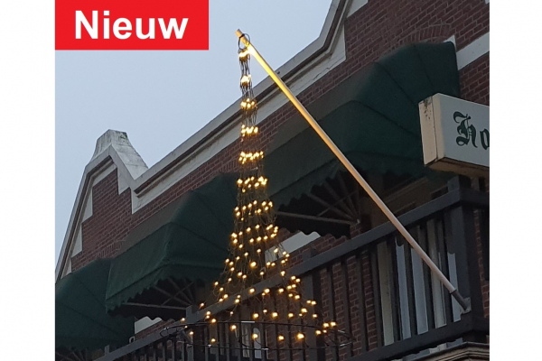Hangende kerstboom fairy lights, gevel-vlaggenmast verlichting kegelkerstboom-180 cm - 196 warmwitte LED lampjes, Vlaggenmast kerstverlichting.