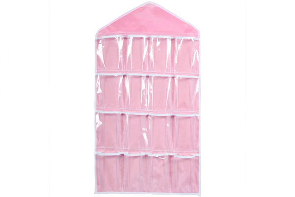 Closet organizer, 16 compartments (pink), multifunctional