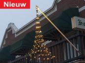 Hangende kerstboom fairy lights, gevel-vlaggenmast verlichting kegelkerstboom-300 cm - 320 warmwitte LED lampjes, Vlaggenmast kerstverlichting.