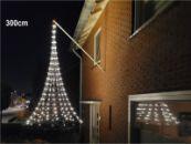 Vlaggenmast kerstverlichting gevel, hangende kerstboom 3 meter -XL 300 cm - 320 warmwitte LED lampjes, vlaggenmast verlichting