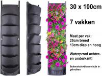Verticale tuin met 7 grote vakken - 30cm x 100cm- hangende tuin - zwarte wand - groene muur - verticale moestuin zakken - plantenhanger balkon - plantenbak - plantenzak, 0.3 x 1 meter