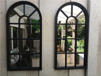 Black gothic frame mirror | Garden mirror | Window mirror 70 x 34cm