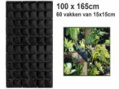Verticale tuin met 60 grote vakken - 100cm x 165cm - verticale tuin - zwart - groene wand - groene muur - verticale moestuin zakken - plantenhanger balkon - plantenbak - plantenzak 1x1.65 meter