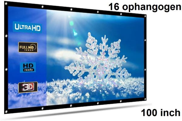 Beamer scherm projectiescherm 100 inch 16:9, lichtgewicht 285 gram met 16 ophangogen, projectie-doek beamerscherm