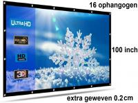 Beamer scherm projectiescherm 100 inch 16:9, dichter geweven >> 390 gram met 16 ophangogen, beamerscherm doek incl ophanghaken