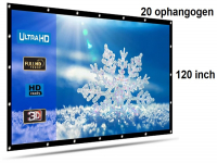 Beamer scherm projectiescherm 120 inch 16:9, lichtgewicht 385 gram met 20 ophangogen, projectie-doek beamerscherm incl ophanghaken