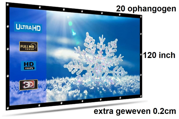 Beamer screen, projection screen 120 inch 16: 9, extra woven 390 grams with 20 hanging eyes! Shipped for free