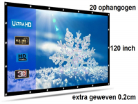 Beamer scherm projectiescherm 120 inch 16:9, dichter geweven >> 560 gram met 20 ophangogen, beamerscherm doek incl ophanghaken