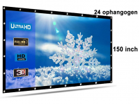 Beamer screen, projection screen 150 inch 16: 9, lightweight 560 grams with 24 hanging eyes! Shipped for free