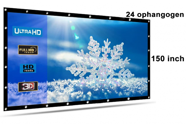 Beamer scherm projectiescherm 150 inch 16:9, lichtgewicht 560 gram met 24 ophangogen, projectie-doek beamerscherm incl ophanghaken