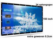 Beamer scherm projectiescherm 150 inch 16:9, dichter geweven >> 810 gram met 24 ophangogen, beamerscherm doek incl ophanghaken