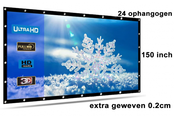 Beamer screen, projection screen 150 inch 16: 9, extra woven 810 grams with 24 hanging eyes! Shipped for free
