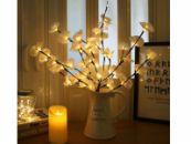 Kunstbloemen Orchidee kunstplant LED decoratie takken met 20 lampjes warm wit licht
