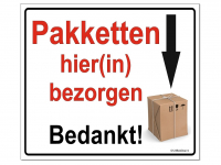 A5 Aluminium Bord Pakketten hier(in) bezorgen, geen sticker, instructiebord bezorger pakketdienst pakketbox pakketbrievenbus pakketkluis