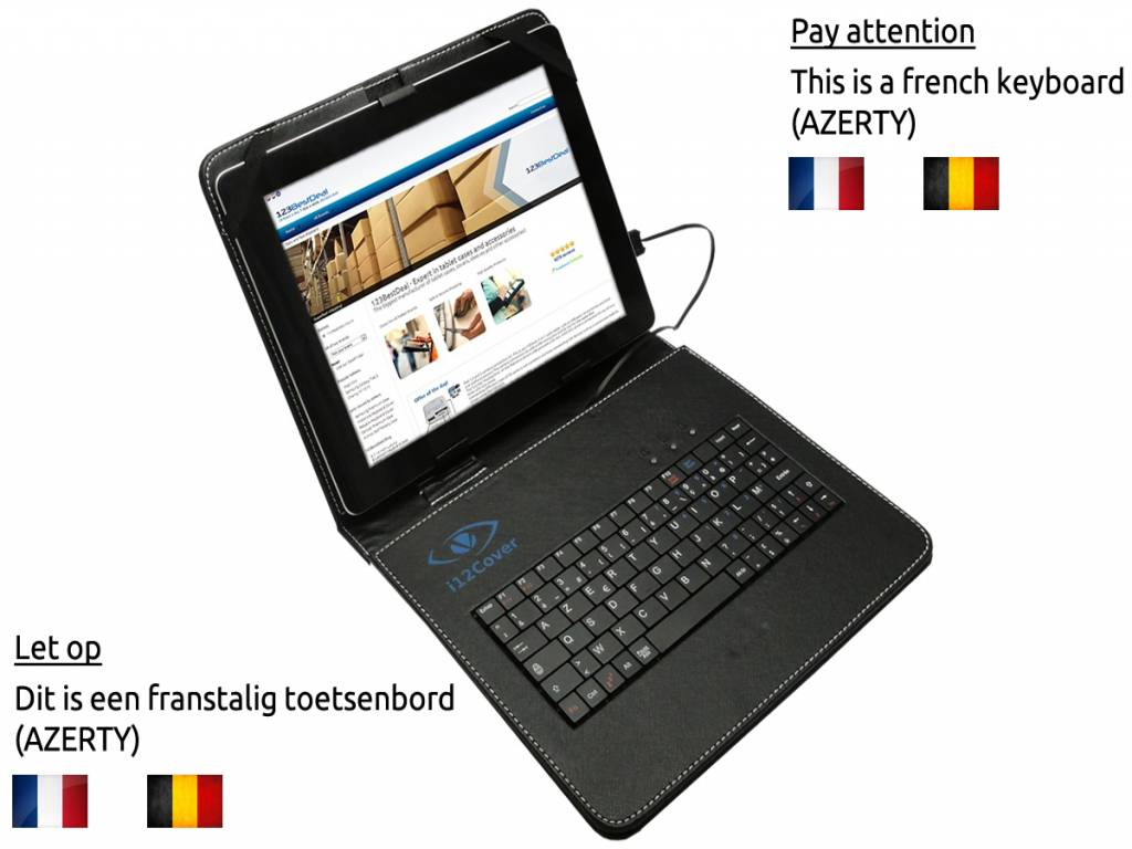 AZERTY Keyboard Case, kleur zwart voor Terra Pad 1001